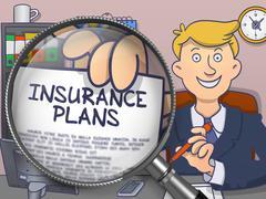Insurance Plans through Magnifying Glass. Doodle Design Stock Illustration
