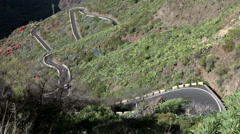 Narrow route from Santiago del Teide to the Masca village. Tenerife, Canary Stock Footage
