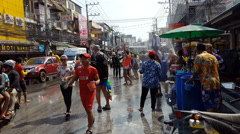 Second Road during Songkran festival -Thai New Year - stock footage