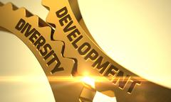 Development Diversity Concept. Golden Cog Gears - stock illustration
