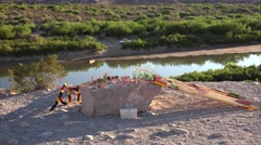 Mexican Souvenirs and Rio Grande River in Big Bend National Park Texas - stock footage