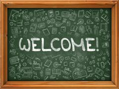 Welcome - Hand Drawn on Green Chalkboard Stock Illustration