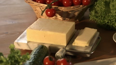 Kitchen Counter Scattered With Fresh Cheese And Salad - stock footage
