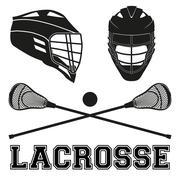 Lacrosse sticks and helmets Flat style Stock Illustration