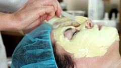 Medical mask for the treatment of facial skin of acne and irritation. - stock footage
