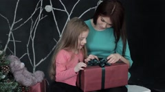 Happy Child Receives A Gift Stock Footage