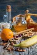 Products for making granola. Rustic style. - stock photo