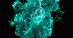Motion Background VJ Loop - Cyan Particles 4k + Matte Stock Footage