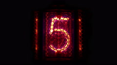 Nixie tube indicator a set of decimal digits. - stock footage