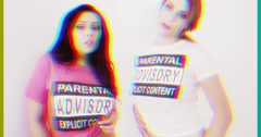 parental advisory explicit content sexy woman t-shirt - stock footage