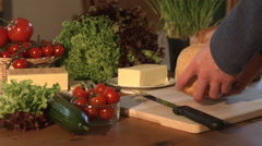 Slicing Freshly Baked Homemade Bread In Kitchen Stock Footage