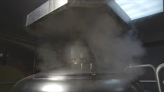 Vapor from steel beer tank Stock Footage