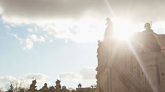 Beautiful view on St. George's Cathedral lit by sunset rays. A baroque-rococo Stock Footage