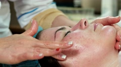 Relaxing facial massage at the clinic on the skin restoration. Stock Footage