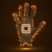 Neon hand. Cpu. Circuit board - stock illustration