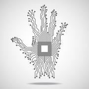 Hand. Cpu. Circuit board. Vector illustration - stock illustration