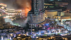 Huge Fire accident occured from the The Address Hotel before New Year 2016 Stock Footage