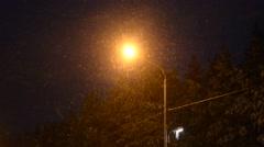 Street light in suburban area at night Stock Footage