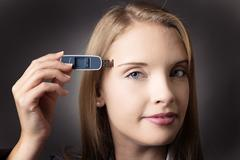 Memory stick download - stock photo