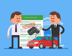 Approved car loan vector illustration. Buying automobile concept. Dealer hand Stock Illustration