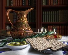 Jewish celebrate pesach passover with books, olive and pitcher - stock illustration