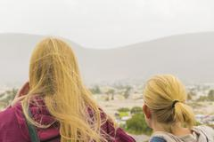 Back View Two Blond Young Women at Viewpoint Stock Photos