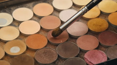 shadow kit with brush for make-up - stock footage