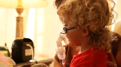 Little Boy Getting Breathing Treatment For Asthma - stock footage