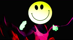 Acid smiley emoticon raver sexy woman gogo dancer 4k Stock Footage