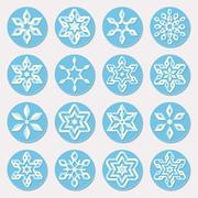 Set of Sixteen Blue Shades Snowflake Ornaments Christmas Design Elements Stock Illustration