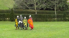 Display of medieval warriors Stock Footage