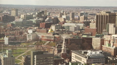 Boston State House Wide Aerial Stock Footage