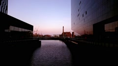Sunset At Liverpool Canal Link,UK Stock Footage