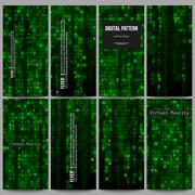 Set of modern flyers. Virtual reality, abstract technology background with green Piirros
