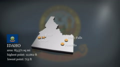 3D animated Map of Idaho Stock Footage