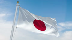 Japanese flag in 4k Stock Footage