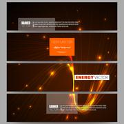 Set of modern banners. Abstract lines background, dynamic glowing decoration - stock illustration