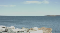 Fort Gorges in Casco Bay to Oil Dock pan Stock Footage