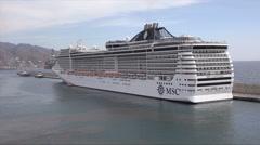 MSC Fantasia cruise ship moored in Santa Cruz de Tenerife Stock Footage