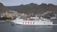 Armas inter island ferry turns for docking in harbour in Santa Cruz, Tenerife Stock Footage