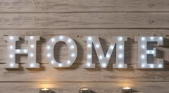 LED Iluminated Decorative Letters That Spell HOME Stock Photos