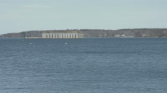 Fort Gorges in Casco Bay with tilt down Stock Footage