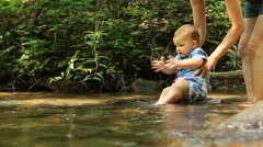 Little Boys Playing In Mountain Creek - stock footage
