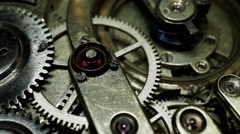 Old vintage watch mechanism working macro (looped video) HDR filtered Stock Footage