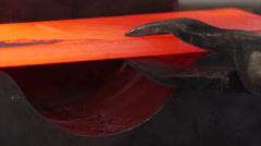 Steel making - modeling fiery steel blocks in Rolled metal factory. Stock Footage