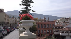 La Orotava historic town centre buildings, Tenerife, Spain, pan Stock Footage