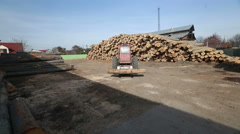 Working at a timber processing plant - stock footage