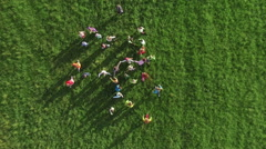 Running children aerial view - stock footage