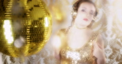 Music party disco babe sexy dancer glamour fashion style Stock Footage