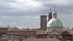 View of Cathedral and Bramante tower from rooftops, Vigevano, PV, Italy Stock Footage